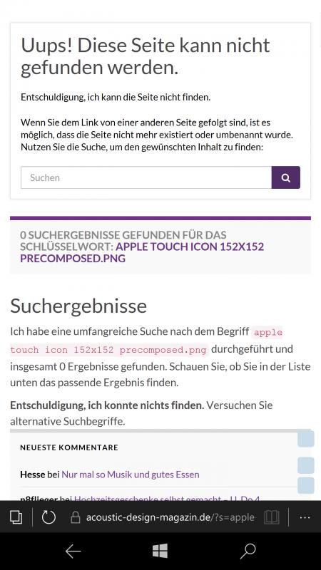 Fehlermeldung in der mobilen Version